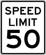 Framed Print - 50MPH Speed Limit Sign (Picture Poster Word Art Road Motorway)