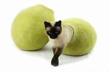 Cat cave bed,house from 100%wool for pet, Kivikis - Color  Birch Green  Size L.