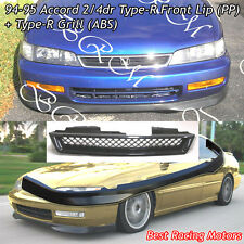 TR Style Front Bumper Lip (PP) + TR Style Grill (ABS) Fits 94-95 Honda Accord