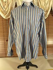 Mens JOHNSTON & MURPHY Tailored Fit Flip Cuff L Large Blue & Brown Stripe EUC