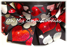 """3"""" RED SILVER HOLOGRAM HEARTS BLING GROSGRAIN RIBBON 4 CHEER HAIRBOW BOW BLACK"""