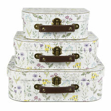 Wildflower Set Of 3 Suitcases Storage Boxes Mini Luggage Case Gift Decoration