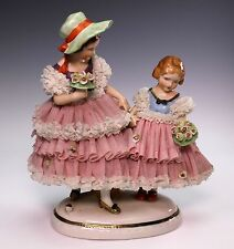 "Dresden Art Young Girls 7 1/2"" Tall Lace Figurine Figural Group"