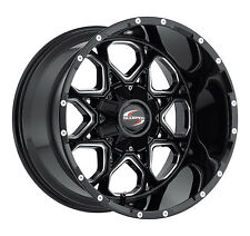 20 x 14 Black Milled Scorpion Style SC10 Wheels 8 x 165 Offset -76 Fit Chevy