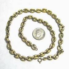 """Sterling silver vermeil link/chain necklace antique 18"""" Signed/hallmark: NH B30"""