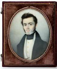 Antique French Portrait Miniature in Etui, Case, Handsome Young Man c. 1830s