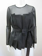 ANNE FONTAINE Black Nuance Pleated Cotton Sheer Yoke Blouse Top, sz 42