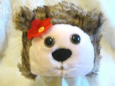 Girls flufffy fun fur Hedgehog Beaver Animal Warm Cute Hat Fancy Dress 2-6 yrs