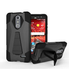 FOR ZTE GRAND X 4 Z956 FULL BLACK 2-PIECE SHOCKPROOF CASE HYBRID IMPACT COVER