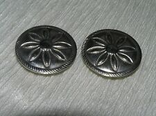 Vintage Lot of 2 NONY Signed Etched or Stamped Round SIlvertone Flower Button