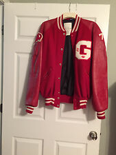 GHS Vintage  High-School-Football-Varsity-Letterman-Wool-Jacket-Leather-Sleeves