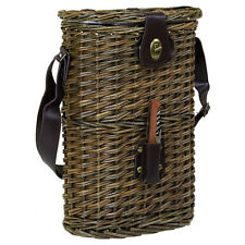Charles Bentley Picnic Wicker Brown Bottle Cooler Bag Wine Carrier With Strap