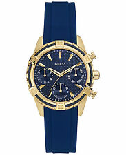 U0562L2 NEW GUESS LADIES ROUND MULTIFUNCTION DIAL NAVY SILICONE WATCH w0562l2
