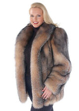 Women's Plus Size Crystal Fox Fur Jacket