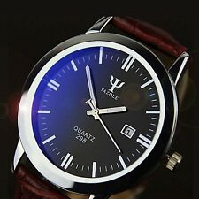 Men's Leather Band Watch Calendar Date Analog Quartz Waterproof Wrist Watch TO