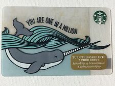"STARBUCKS GIFT CARD 2015 LIMITED EDITION ""NARWHAL"" WHALE HOLIDAY 48 NEW XMAS"