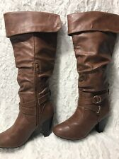 Rampage Brand Brown Leather Pull On Wedge Heeled Knee High Boots! Size 7 1/2