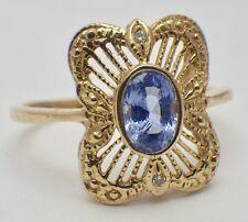 Estate 14K Yellow Gold Deco Style Tanzanite Filigree Ring w/Micro Diamonds SZ 6