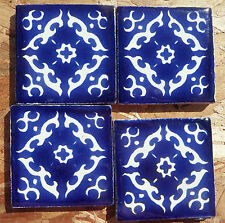 "36~Talavera Mexican 2"" tile pottery hand painted Blue and white hand painted NEW"