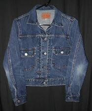 GUESS DENIM JEAN JACKET 2ND EDITION PLEAT FRONT STYLE TRUCKER LADY'S SMALL