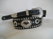 UNIQUE LEATHER BLACK STUDDED OVAL CONCHO GUITAR/BASS STRAP