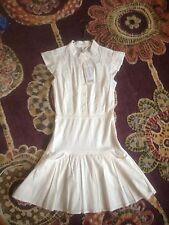 White Cotton Amisu Lace Shirt Dress Frills New Size 34 Uk 8