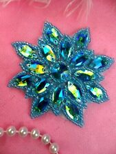 N19 Rhinestone Applique Turquoise Aurora Borealis Glass Patch 2.75""