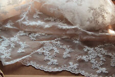 White Floral Lace Fabric Organza Curtain Embroidered Bilateral Fabric Scalloped