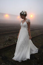 Vintage New White/Ivory Lace A-line Wedding Dresses Bridal Gown Custom Size2-36=