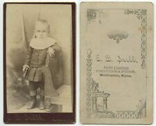 ANTIQUE CDV PORTRAIT OF A LITTLE BOY IN GREAT OUTFIT FROM WELLINGTON, KANSAS