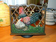 cast iron metal cook book holder stand adjustable rooster chicken hen country