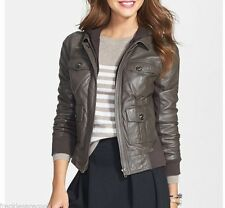 NWT CASLON NORDSTROM LEATHER HOODED GREY BROWN IRON JACKET XL (14 16)