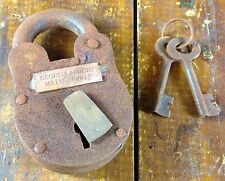 GEORGIA ARMORY MILLEDGEVILLE CIVIL WAR REPRODUCTION PADLOCK LOCK WITH TWO KEYS