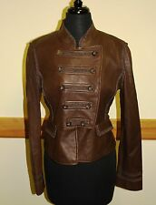 BCBG MAX AZRIA NWOT Women M Brown Leather Cropped Punk Miliatary Jacket Vtg