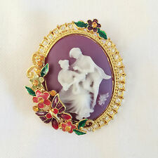 New Clear Crystal Love Couple Purple Cameo Pendant Charm Brooch Pin Gift BR1358