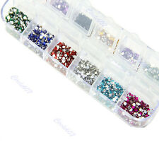 12 Colours Round Mixed Nail Art Tips Rhinestone Nail Glitter For UV GEL Manicure