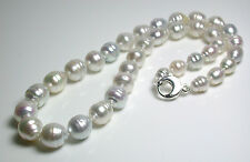 White grey AA+ 8-10x12-14mm South Sea saltwater pearl & sterling silver necklace