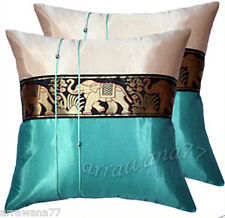 2 Thai Silk Decorative Elephant Pillow Cushion Cover Throw Turquoise