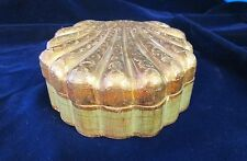 Antique Heavily Gilded Wooden Clam Shell Box Sage Green Florentia? Unusual!
