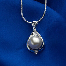 925 Silver Plated Crystal Pearl Pendant Chain Necklace 18 inch NF