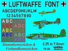 1/144 1/200 1/100 1/72 Decals German Luftwaffe Aircraft Letters & Numbers YK-04