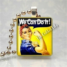 ROSIE THE RIVETER WE CAN DO IT World War II Scrabble Tile Pendant Jewelry Charm