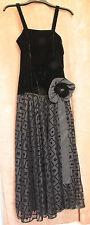 Long Black Velvet and Mesh Evening Dress - High St Brand - Small 6/34