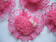 20 Padded Heart w/Bow/Pearl Lace Edge Appliques-Hot Pink AH031-1