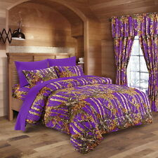 PURPLE CAMO BEDDING 12  FULL SIZE SET COMFORTER SHEET CURTAIN CAMOUFLAGE VIOLET