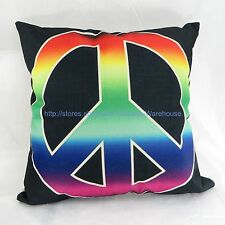 rainbow peace sign cotton linen cushion cover hippie boho pillow cover
