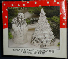 Santa Claus & Christmas Tree silver plated  salt & pepper shakers set New!