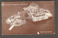 Ireland 1952 post card St Patrick's Purgatory Lough Derg to St Mary's Abbey