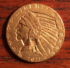 $5 Five Dollars Indian Head ~ Half Eagle GOLD COIN ~ AU ~ 1911 ~ USA