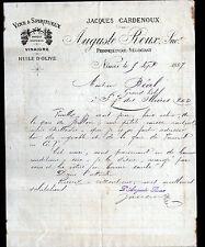 """NIMES (30) VINS VINAIGRE HUILE D'OLIVE """"Jacques CARDENOUX / Auguste ROUX"""" en1887"""